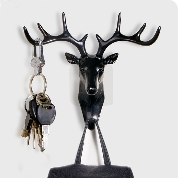 Small hook Creative plastic wall rack for living room hat/bag/key/jewelry rack Three-dimensional deer decor office Bedroom hook