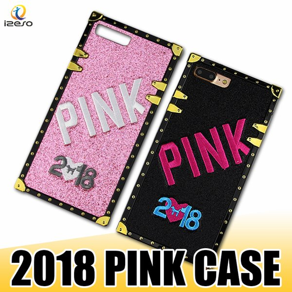 2018 New LOVE PINK Case Soft Silicone 3D Embroidery Hot Selling Pink Bling Back Cover for iPhone X 8 7 6s 6 Plus