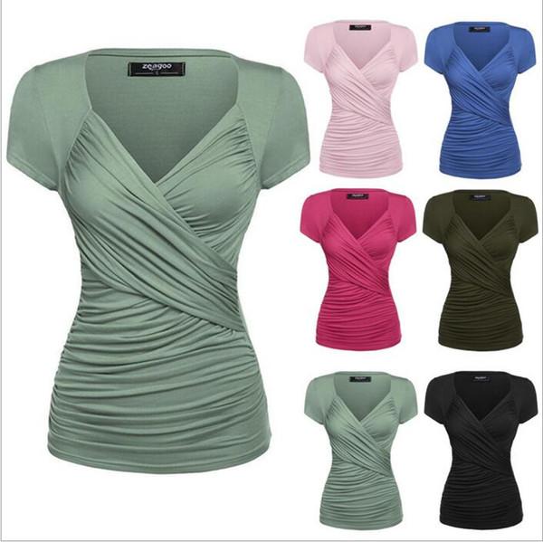Camiseta Mujeres V Cuello Tops Sexy Camisas Casuales Camisetas de Manga Corta Blusa de Moda Cruz Camisas de Verano Túnica Blusas Mujeres Ropa Vestidos B2721
