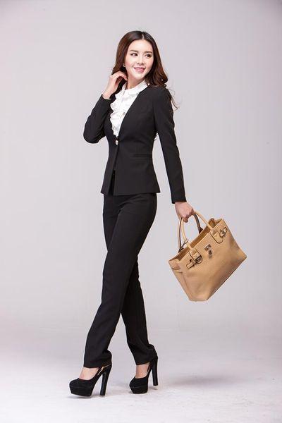 Nuovo 2015 Autunno Inverno EleBlack Professional Business Office Work Wear Abiti Formali Pantaloni Pantaloni tute uniformi Blazers Set