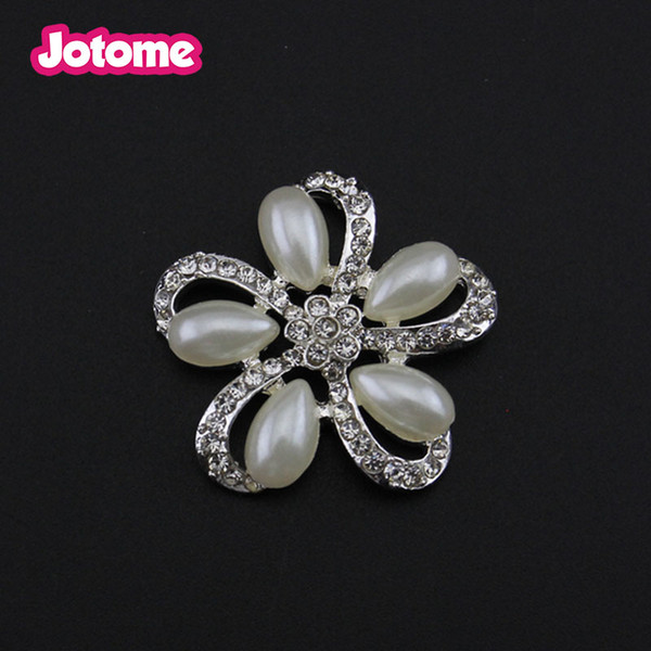 Fashion Women Clear pearl Bling Flower Rhinestone Snapback Buttons/flat back/brooch for Wedding Invitation Card/Bouquet/Sash Chair/Shoes