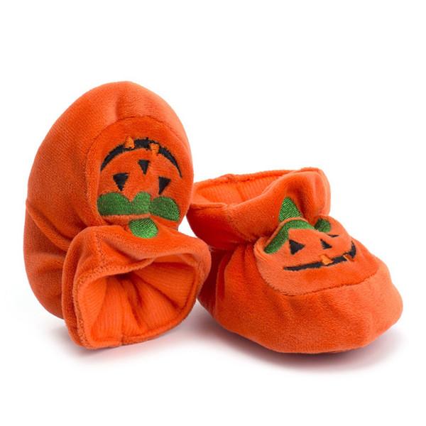 Halloween Nouveau-né Bébé Garçon Fille Orange Chaussures Enfant En Bas Âge Garçons Filles Doux Prewalker Anti-slip Citrouille Imprimé Premiers Marcheurs