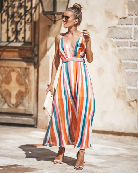 2018 novas mulheres verão boho longo / curto listrado dress sexy das mulheres com decote em v backless partido vestidos de praia colorido moda vestido de verão