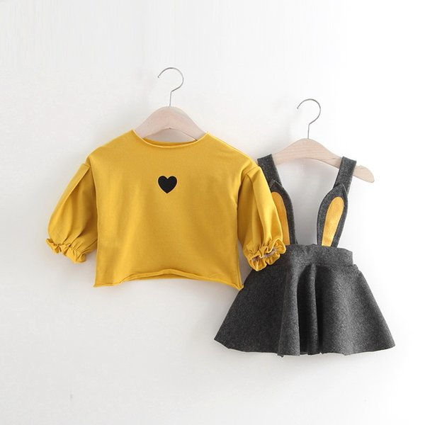 2018 New Design Girl Spring Autumn Rabbit Ear Dresses Set 2 Colors Baby Girl Outfit Cute Suspender Skirt +T-shirt