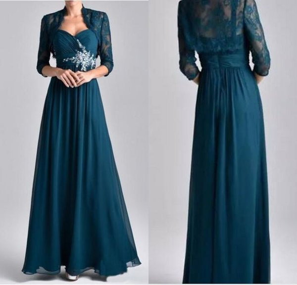 Cheap Hunter Green Crystals Chiffon Mother Of The Bride Dresses Plus Size Formal Evening Gowns With Lace Jacket Wedding Guest Mother Dresses