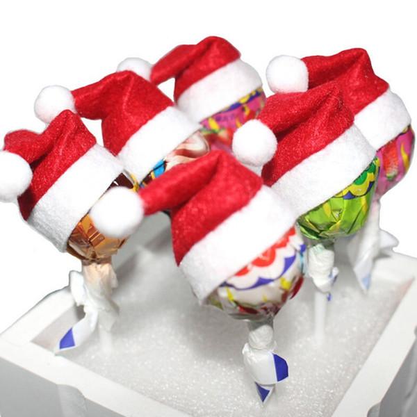 6 Pcs Mini Kids Christmas Santa Claus Xmas Top Hat Toys Lollipop Hats Holiday Decoration