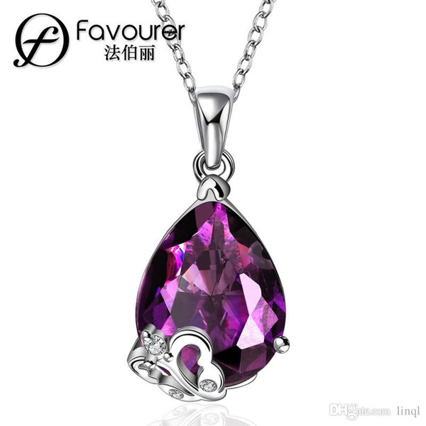 Free Shipping 2017 New Ladies exquisite purple Gemstone Necklace