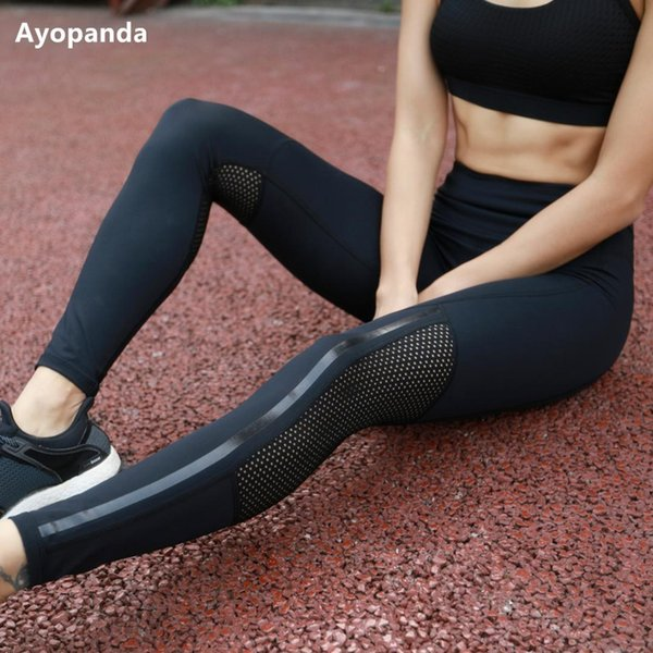Ayopanda 2017 Hot Sale Women Net Hole Yoga pants High Waist Sports Legging Shiny Strap Jogging Tights Fitness Workout Trousers