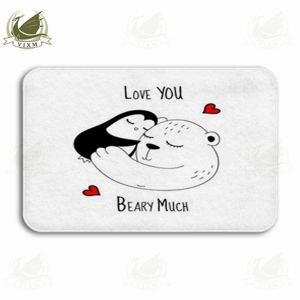 Vixm Illustration Art Of Penguin White Bear In Love Red Heart Welcome Door Mat Rugs Flannel Anti-slip Entrance Indoor Kitchen Bath Carpet