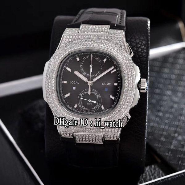 New Classic Nautilus 5990 Steel Diamond Case Black Texture Dial Miyota Quartz Chronograph Mens Watch Black Leather Watches Stopwatch 309b2