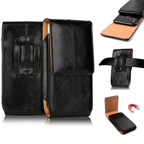 Vertical Leather Case Pouch Belt Clip Holster For iPhone 7/8 Plus For Universal 4.7 5.5Inch Cell Phone Case Wholesale Factory Price