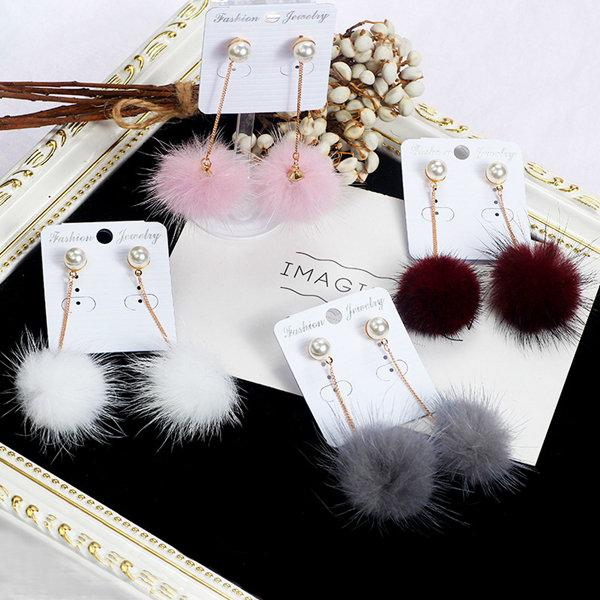 High Quality Plush ball earrings women mink hair long earring Simple wild pearl hair ball jewelry Multicolor Mix order Xmas gift 15pcs