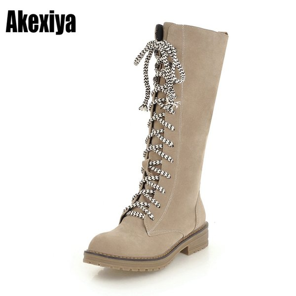 Flats Lace up Snow Boots Female Beige Ladies black Dark brown Casual Half Boots for Women's Autumn Winter Shoes Woman y867