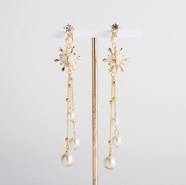 Bridal Earrings Gold long ear clip ear accessories wedding gauze dress dinner accessories