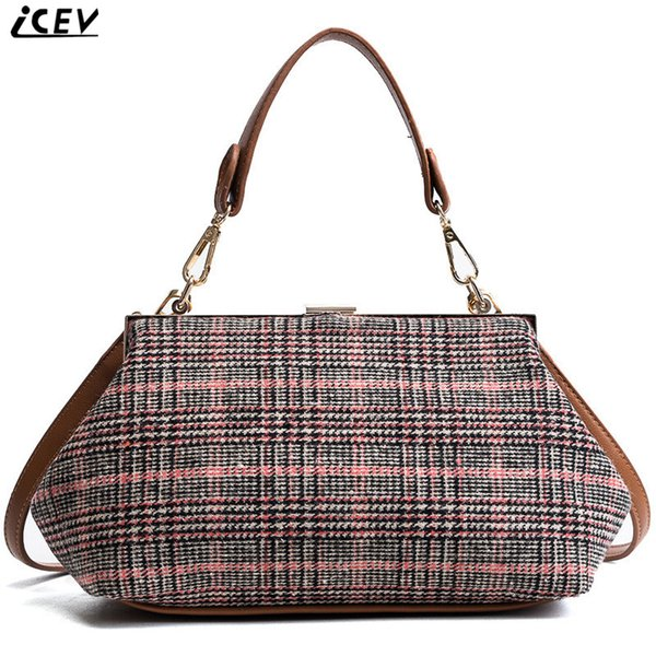 ICEV 2018 new fashion designer brand top handle bag ladies patchwork wool shoulder bags for women messenger clutch clip woolen