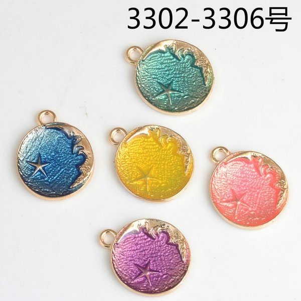 100pcs Mix Fashion enamel moon star charms, metal round tag pendants jewelry dangle diy earring findings accessories boutique trinket bijoux