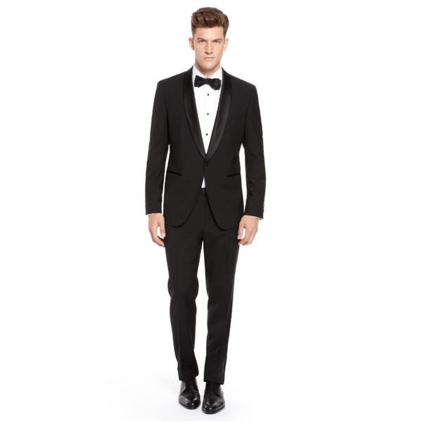 Custom Made Slim Fit Groom Tuxedos Shawl Lapel Best Man Suit Black Groomsman Men's Wedding/Prom Suits (Jacket+Pants)
