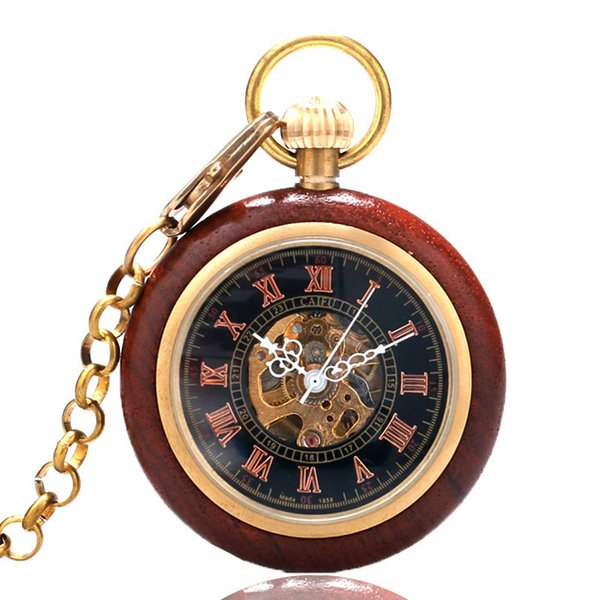Retro Unique Red Wood Mechanical Pocket Watch Open Face Design Hand Winding Roman Numbers Display Vintage Pendant Clock Gift
