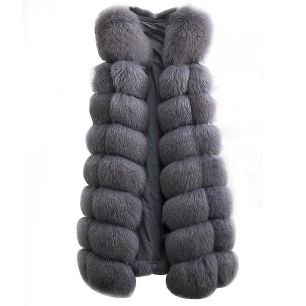 90CM Natural Real Fox Fur Vest New 2018 Winter Long Thick Women Genuine Fur Vest Jacket Pockets Real Fur Vest Coats for Women Y18101702