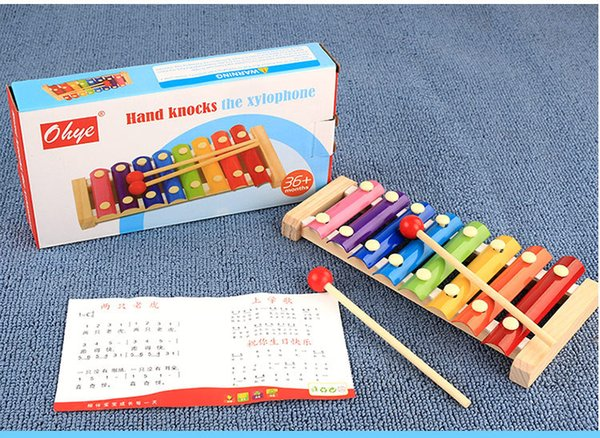 wood hand knocks the xylophone serinette Eight piano the eight scales on piano digital alphabet blocks Children's baby toy piano gift DHL 24