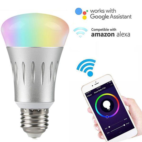 Inteligente WiFi Bombilla 7 W E27 / B22 / E14 RGBW Dimmable Inalámbrico WiFi Bombilla de Control Remoto Luz de trabajo con Amazon Echo Alexa