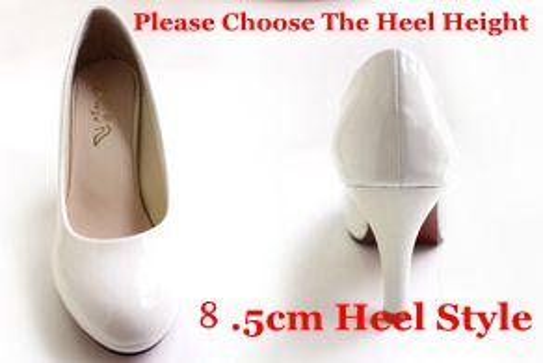 White 8.5Cm Heel High