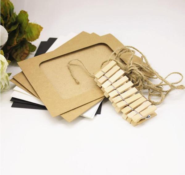 10 teile / satz DIY Kraftpapier Fotorahmen Für Bilder Vintage Rahmen Foto DIY Baby Halter Hochzeit Wanddekor