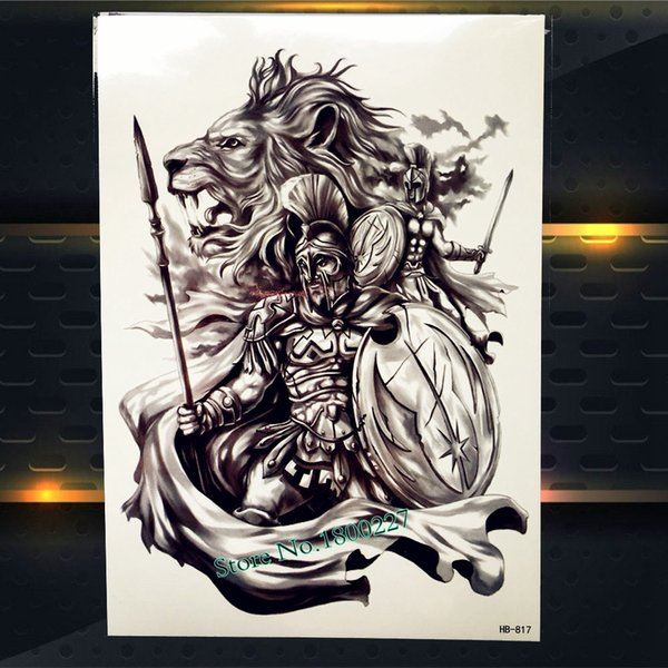 God Of War Temporary Tattoo Sticker For Men Body Art Black Waterproof Tattoo Arm Sleeve Women Ares Mars Fake Tatoo Lion Warrior Print Your Own