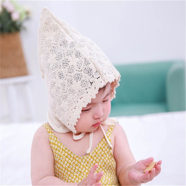 Newborn baby cute little princess lace tip sunshade cap with cap baby hat shooting props