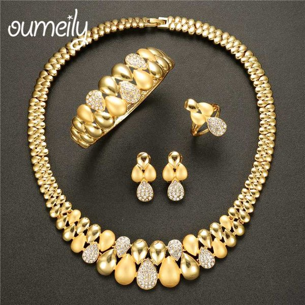 OUMEILY African Jewelry Set 2018 Nigerian Wedding Jewelry Set For Women Gold Indian Jewellery For Brides Crystal Jewellery