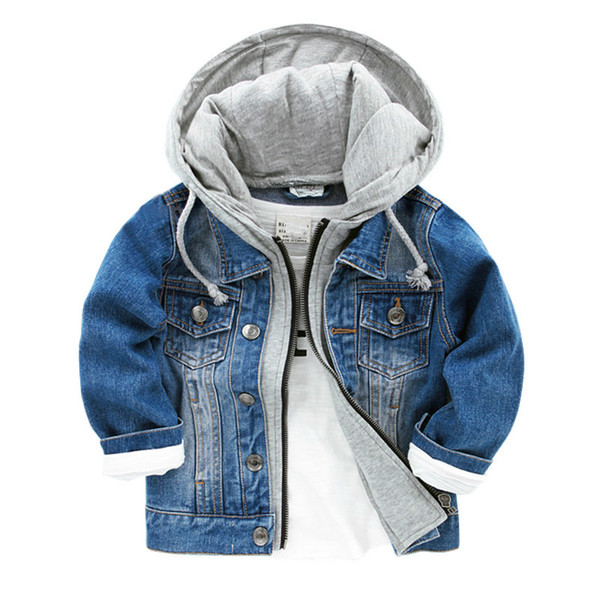 best selling 2018 New Baby Boys Denim Jacket Classic Zipper Hooded Outerwear Coat Spring Autumn Clothing Kids Jacket Coat