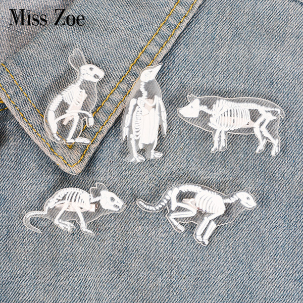 Animal Skeleton acrylic pin Cat pig rabbit penguin rat brooch Button Badge Lapel pin Clothes cap bag jewelry Gift for friend