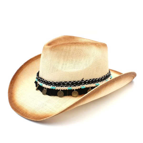 Fashion Women Men Straw Western Cowboy Hat With Western Band For Elegant Lady Sombrero Hombre Cowgirl Jazz Caps Size 58CM