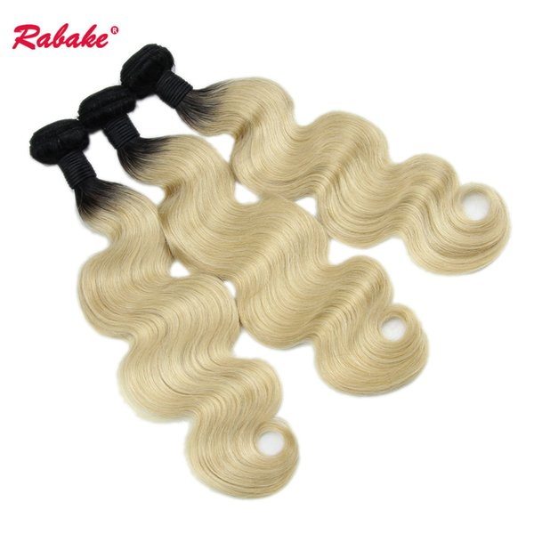 Brazilian Ombre Human Hair Bundles Body Wave 1B 613 Rabake Black and Blonde T1B 613 Ombre Virgin Human Hair Weave Extensions Fast Shipping