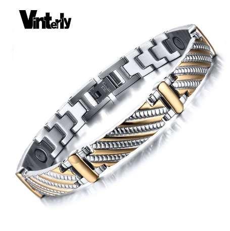 Vinterly Health Energy Magnet Bracelet Men Stainless Steel Bio Magnetic Bracelets Gold Color Jewelry For Men Women
