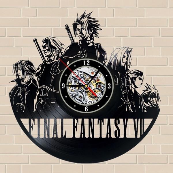 Final Fantasy Vinyl Record Game Elements Кварцевые настенные часы Творческий декор дома Мода Офис Wall Art Clock (Размер: 12 дюймов, цвет: черный)