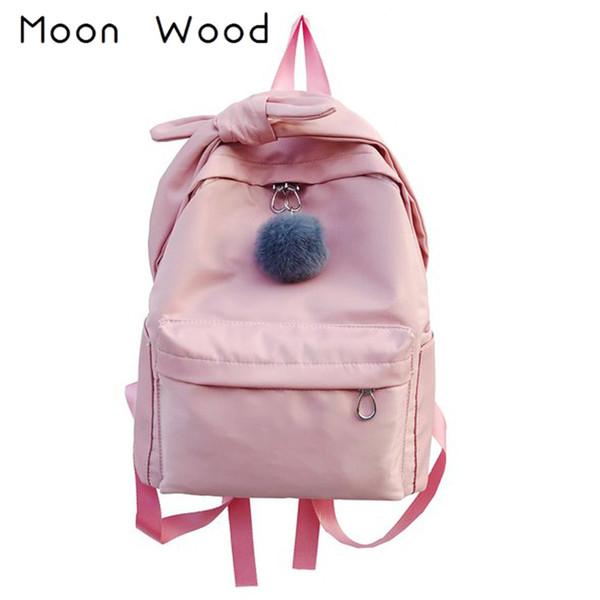 Moon Wood Sweet Hair Ball Bowknot Pink Backpack Students Travel Backpack School Bags For Teenager Girls Laptop Shoulder Bag sac
