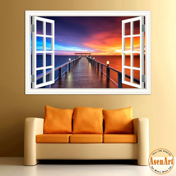 3D Wall Sticker Seaside Bridge Beautiful Sunset Window View Wallpaper 3D Wall Decals for Living Room Home Decor Decal Art