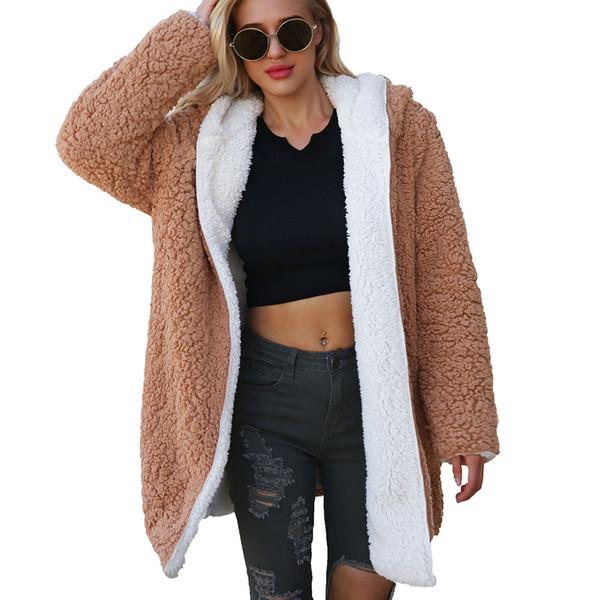 Parka 2018 Mit Teddy Ovearcoat Lange Großhandel Künstliche Winter Wolle Oberbekleidung Von Jacke Mantel Dicke Kapuze Damen Nm8nOyv0w