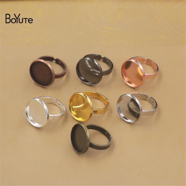 BoYuTe 20Pcs Gold Plated Adjustable Ring Blank Bezel Tray Round 10MM 12MM 14MM 16MM 18MM 20MM Cabochon Base Setting Diy Jewelry Making