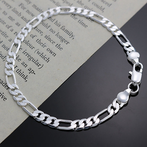 Fine 925 Sterling Silver Bracelet for Women Men,Fashion 925 Silver Charm Chain 8inch Bracelet Italy 2018 New Arrival Xmas Best Gfit AH219