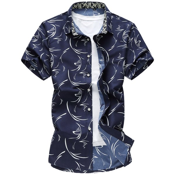 Wholesale-New Fashion  Summer Casual Shirts Mens Cotton Breathable Print Business Short Sleeves Shirts Man Plus Size 7XL Clothing