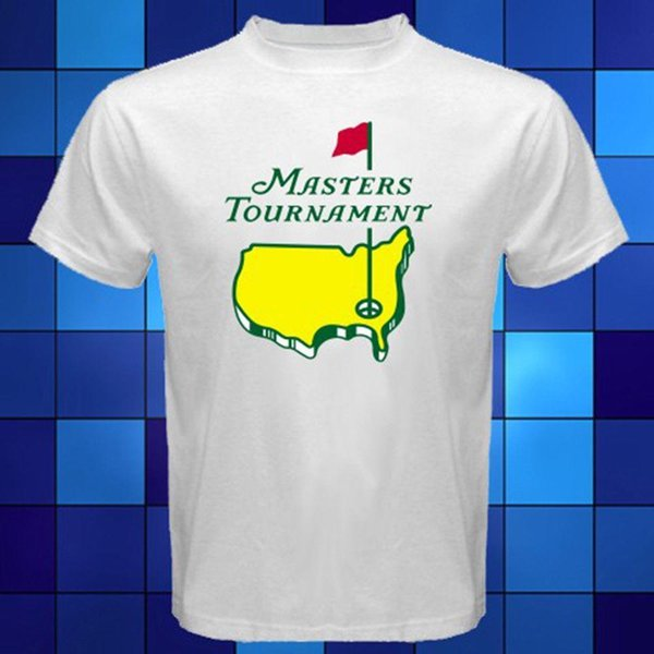Novo Torneio Masters Logo Golfe T-Shirt Branca Tamanho S para 3XL
