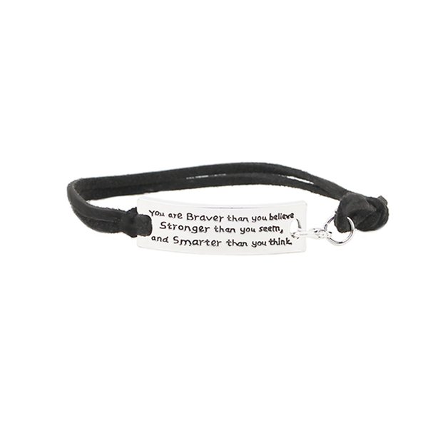 "Wholesale- ""You are braver than you believe stronger than you seem and smarter than you think"" Inspirational Bracelet"