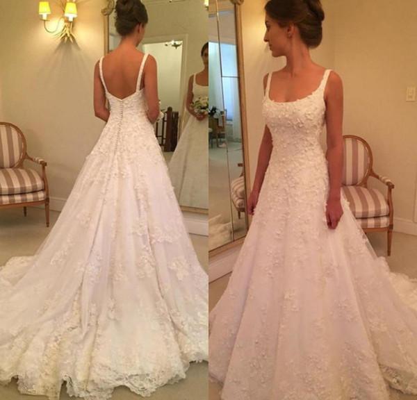 Vintage Wedding Dresses Ivory Hot Seller A Line Lace Wedding Gowns Bridal Dress Chapel Train Spaghetti Strap Sleeveless Hochzeitskleider