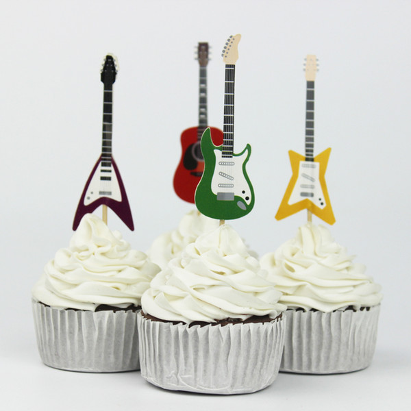 72pcs Guitar Party Supplies Cartoon Cupcake Toppers Pick Birthday Decoration Kids Party Favors