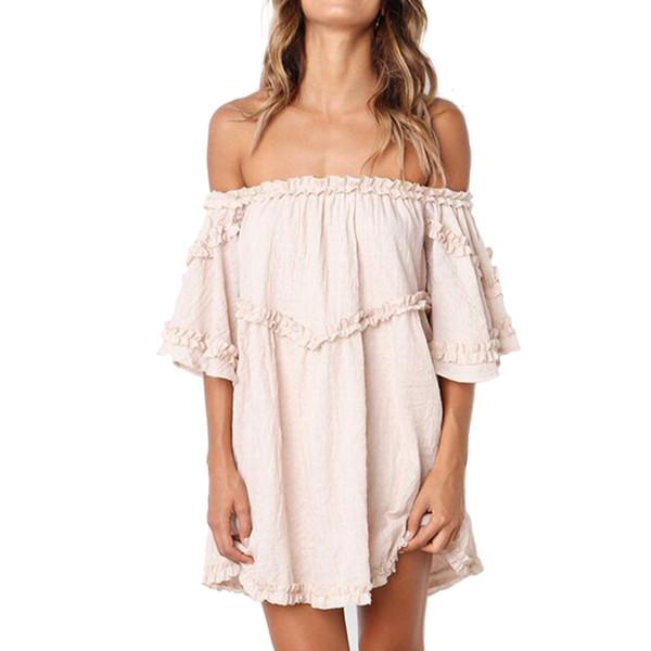 New Women Dress Sexy Off Shoulder Ruffles Loose Mini Dresses Female Short Sleeve Solid ColorSummer Beach Sundress Vestidos