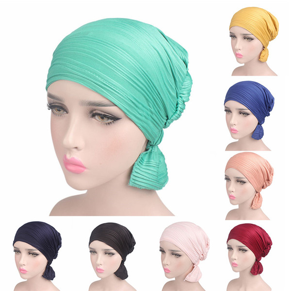 2018 Winter Autumn Women Hat Beanie Stretchy Scarf Cap Wrinkle Ruffle Headband Chemo Turban Women Hair Accessories