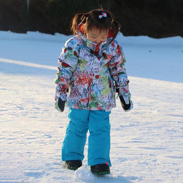 GSOU SNOW Winter Children Ski Suit Girls Outdoor Windproof Waterproof Ski Jacket+ Pants Girls Set