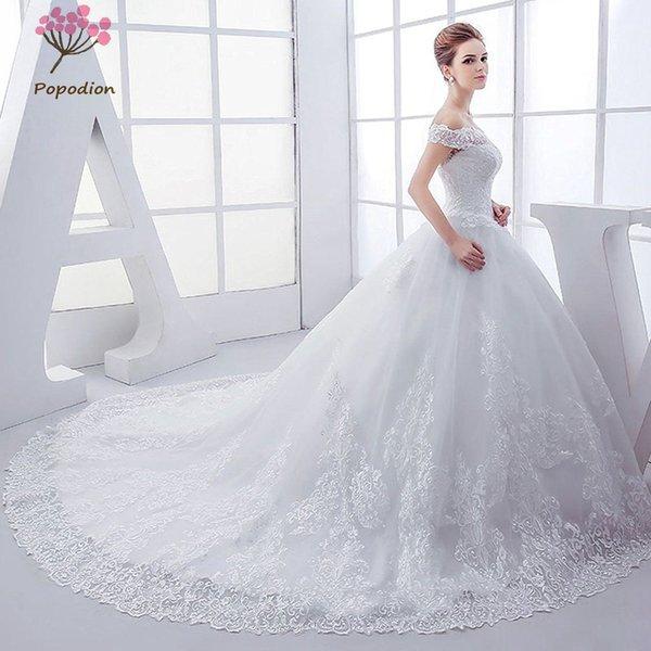 Popodion wedding dress plus size pregnant woman lace vestido de noiva WED90458